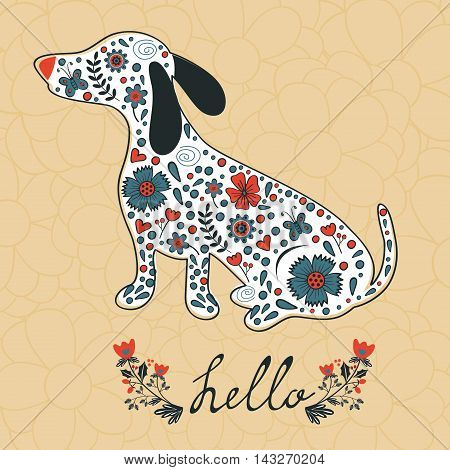 concept hello card with floral badger dog. Vector illustration