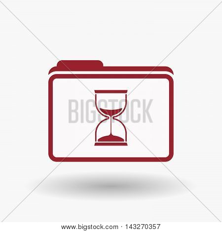 Isolated  Line Art  Folder Icon With A Sand Clock