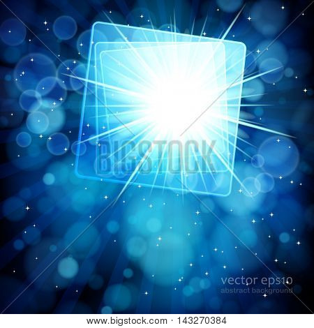 Blue abstract background with bokeh defocused lights. Square banner for your text.