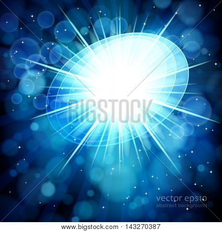 Blue abstract background with bokeh defocused lights. Oval banner for your text.