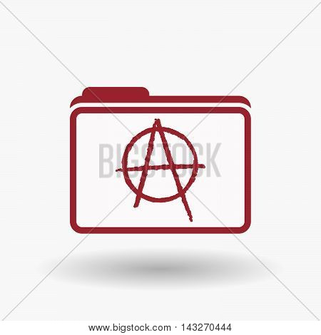 Isolated  Line Art  Folder Icon With An Anarchy Sign