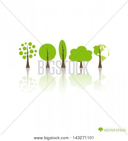 Ecology concept with Abstract trees. Vector illustration