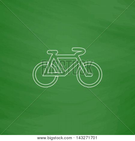Mountain bike Outline vector icon. Imitation draw with white chalk on green chalkboard. Flat Pictogram and School board background. Illustration symbol