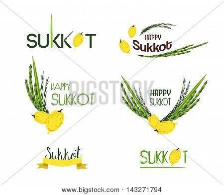 Vector collection of labels and elements for Sukkot, Jewish Traditional Holiday. Icons and badges with signature Happy Sukkot, Happy Holiday. illustration
