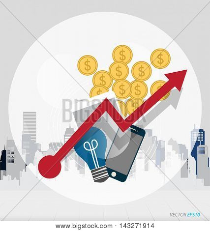 Business concept with business items (mobile phone, globe, money coins, light bulb). Infographics background E-commerce