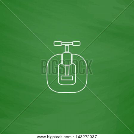 Vice Outline vector icon. Imitation draw with white chalk on green chalkboard. Flat Pictogram and School board background. Illustration symbol