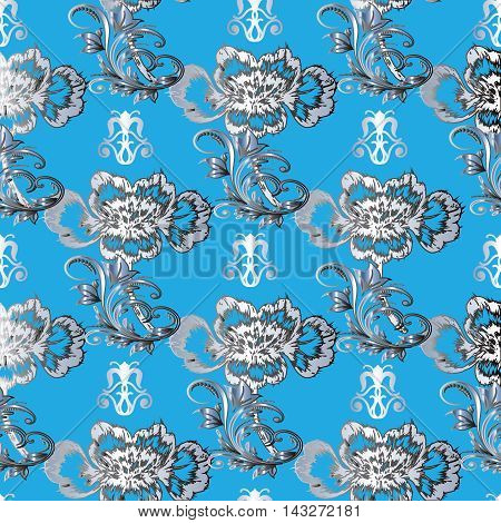 Light blue turquoise  baroque seamless vector pattern background with gradient volumetric damask ornaments and flowers. Vintage luxury 3d floral elements with shadow and  highlights. Decorative  design. Rich texture