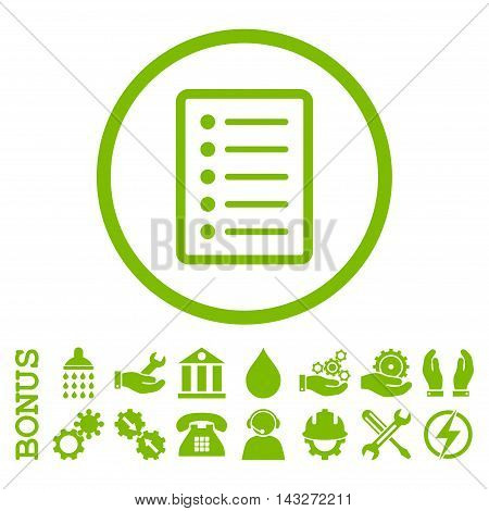 List Page glyph icon. Image style is a flat pictogram symbol inside a circle, eco green color, white background. Bonus images are included.
