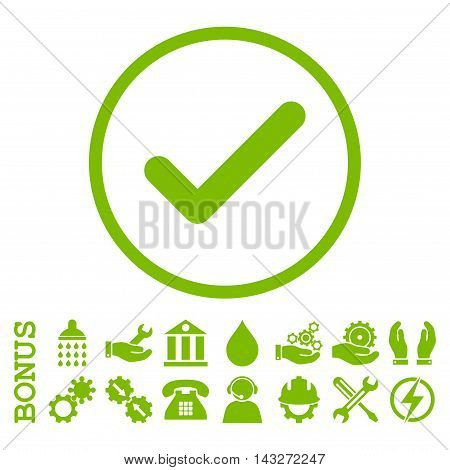 Ok glyph icon. Image style is a flat pictogram symbol inside a circle, eco green color, white background. Bonus images are included.