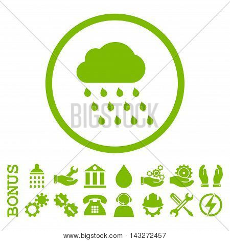 Rain Cloud glyph icon. Image style is a flat pictogram symbol inside a circle, eco green color, white background. Bonus images are included.