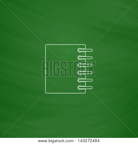 notepad Outline vector icon. Imitation draw with white chalk on green chalkboard. Flat Pictogram and School board background. Illustration symbol