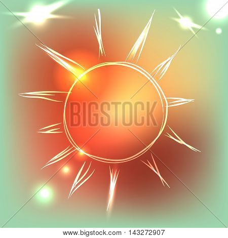 Beautiful sun on colorful background with neon lights, vector illustration