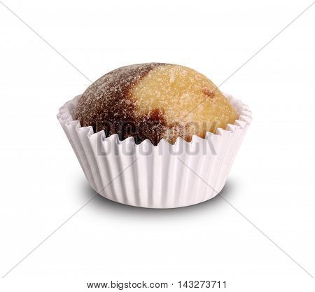 Traditional brazilian sweet - Chocolate brigadier and sweet white. White background.
