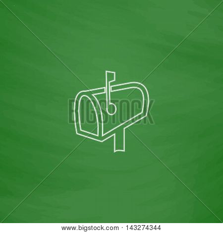 Mailbox Outline vector icon. Imitation draw with white chalk on green chalkboard. Flat Pictogram and School board background. Illustration symbol