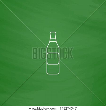 Bottle Outline vector icon. Imitation draw with white chalk on green chalkboard. Flat Pictogram and School board background. Illustration symbol