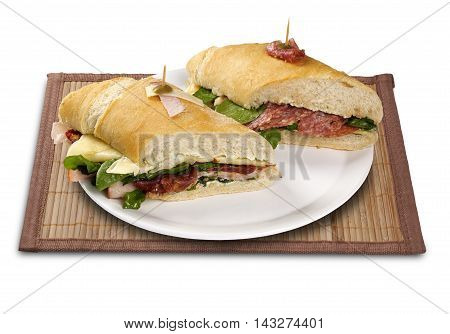 Natural Fresh Baguette Sandwich With Salad