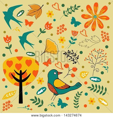 Autumn set with birds, flowers and leaves. vector illustration