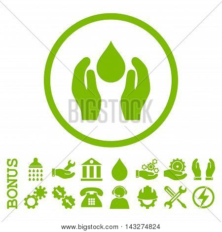 Water Care glyph icon. Image style is a flat pictogram symbol inside a circle, eco green color, white background. Bonus images are included.