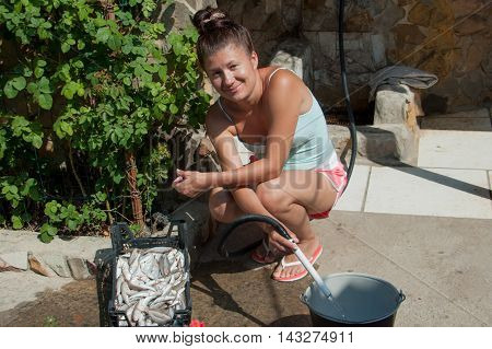 woman washes fish goatfish water from hoses summer day