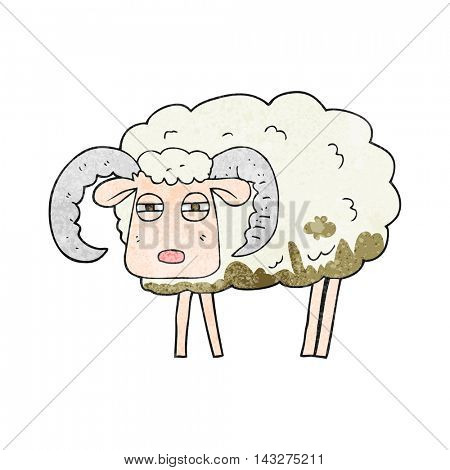 freehand textured cartoon ram covered in mud