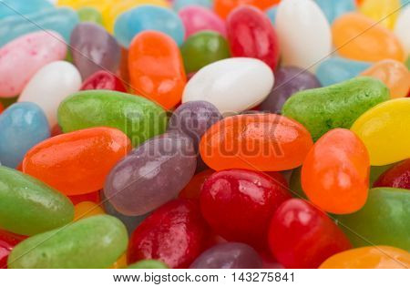 color  candy Jelly Beans on white background