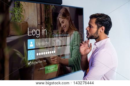 Login screen with smiling woman with pad and coffee against thoughtful man looking over whiteboard