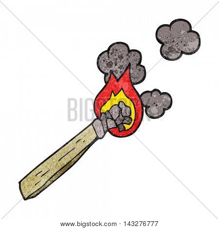 freehand textured cartoon burning wood torch