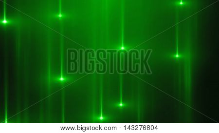 3d render abstract background with vertical light lines and flares. Background with green lines in motion darks tones could be useful as a frame or a texture. Blurred light lines with flares. 3D illustration.