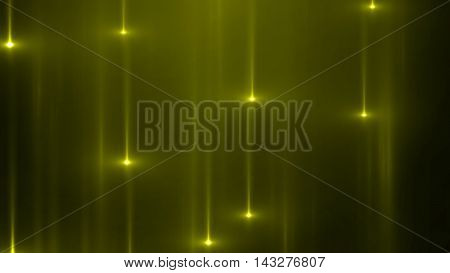 3d render abstract background with vertical light lines and flares. Background with yellow lines in motion darks tones could be useful as a frame or a texture. Blurred light lines with flares. 3D illustration.
