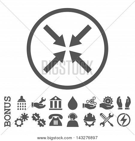 Center Arrows glyph icon. Image style is a flat pictogram symbol inside a circle, gray color, white background. Bonus images are included.