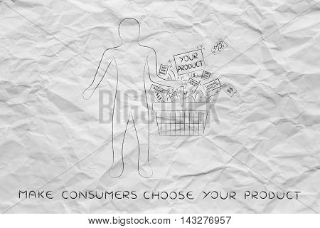 Client Holding Shopping Basket With Your Product Among The Competition