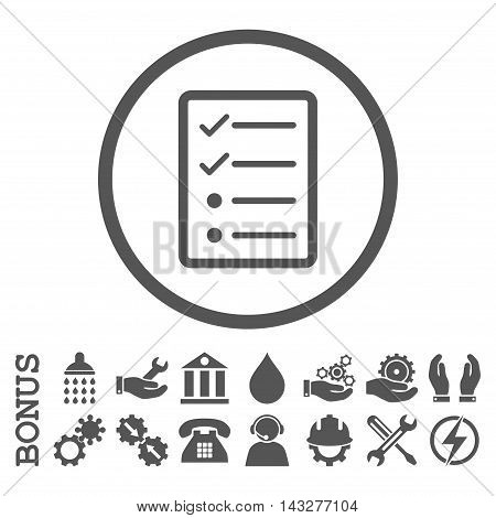 Checklist Page glyph icon. Image style is a flat pictogram symbol inside a circle, gray color, white background. Bonus images are included.
