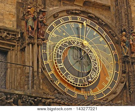 Old astronomical clock in Prague city Czech Republic