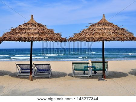 The beach scene Da Nang city Vietnam