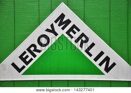 MOSCOW RUSSIA - OCTOBER 10 2015 : Logotype of Leroy Merlin company on October 10 2015. Leroy Merlin is a french world-wide DIY retailer.