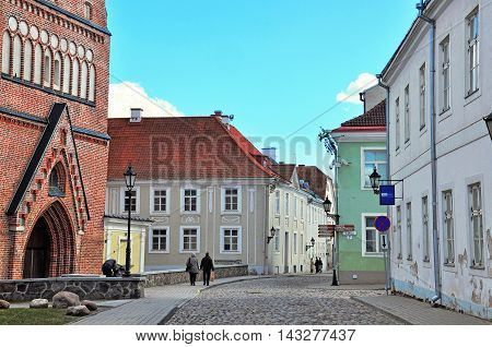 TARTU ESTONIA - APRIL 28: View of the pedestrian street in city centre of Tartu on April 28 2013. Tartu is the second largest city of Estonia