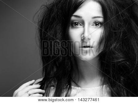 Beautiful Girl Face. Perfect Skin. Big Eyes. Disheveled Hair