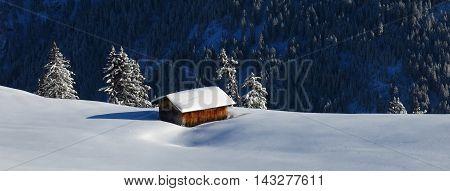 Winter scene in Gstaad, Bernese Oberland. Switzerland.