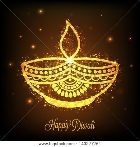 Beautiful Golden Oil Lit Lamp (Diya) on shiny brown background, Glowing Indian Festival background, Elegant Greeting Card design for Happy Diwali celebration.