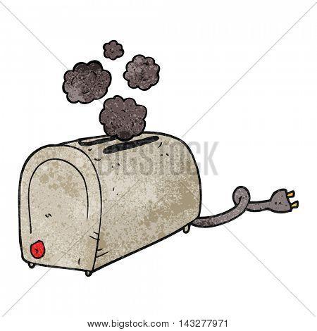 freehand textured cartoon toaster smoking