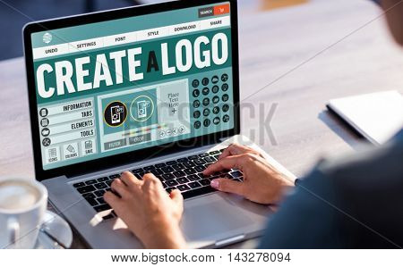 Text and icons on web page against cropped image of man working on laptop