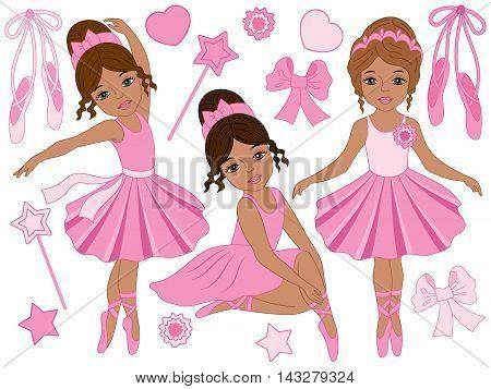 Set of 3 beautiful african american ballerinas in pink dresses