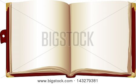template open book in the red cover