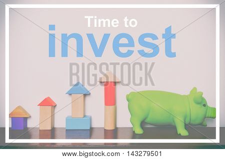 Time to invest on your saving piggy bank and toy growing concept