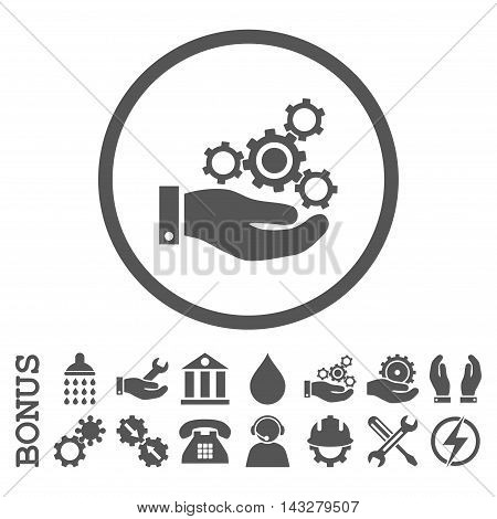 Mechanics Service glyph icon. Image style is a flat pictogram symbol inside a circle, gray color, white background. Bonus images are included.