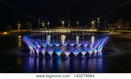 Dancing water with colors at Smart City, Malta