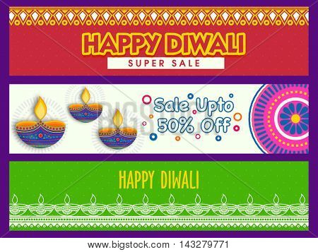Happy Diwali Super Sale with 50% Discount Offer, Website header or banner set, Colorful Sale Background with illuminated lit lamps (Diya) for Hindu Community Festival of Lights celebration.