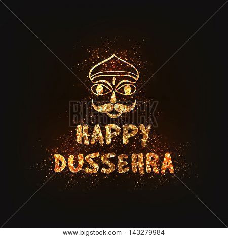 Golden Glittering Text Happy Dussehra and Ravana Face, Creative Poster, Banner or Flyer design for Indian Festival celebration.