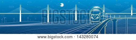 Amazing transportation and technology panoramic. Train goes over the railway on the background of cable-stayed bridge and wind turbines, vector design art