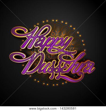 Creative Glossy Text Happy Dussehra on beautiful floral pattern background, Elegant Poster, Banner or Flyer design, Vector illustration for Indian Festival celebration.